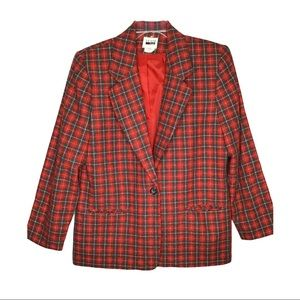 Vintage plaid blazer size 16 womens wool blend